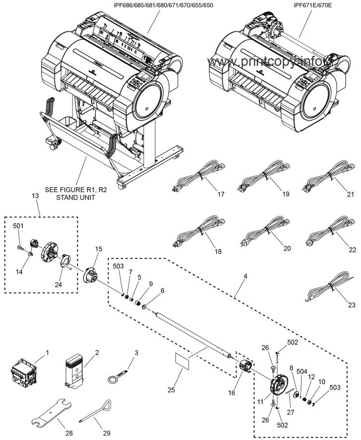 Parts Catalog > Canon > iPF670 > page 1