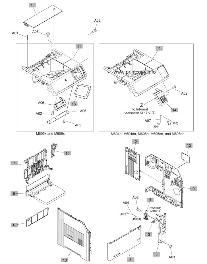 Parts Catalog Hp Laserjet Enterprise M605 Page 1