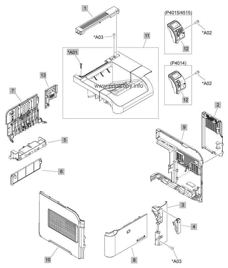 parts catalog \u003e hp \u003e laserjet p4014 \u003e page 1  hp parts diagram #13