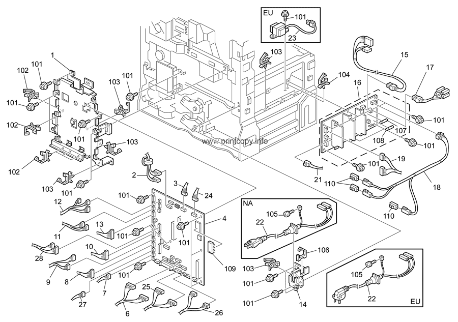 Parts catalog ricoh aficio mp2500 page 26 electrical section 1 d010d043 publicscrutiny Image collections